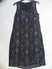 EX M&S BLACK SHEER LINED BEADING & SEQUIN DETAIL COCKTAIL EVENING TUNIC DRESS 8