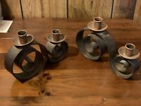 Vintage Antique Brass Copper Candle Holders Swirl Design Handmade Modern Decor !