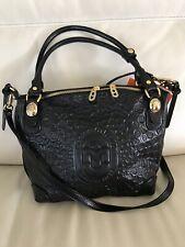 NWT~MARINO ORLANDI~Satchel/Shoulderbag~BLACK Embossed Logo Soft Leather-MED