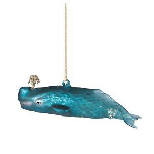 Sass & Belle Glitzy Whale shape Glass Bauble Decoration