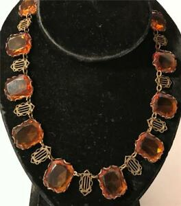 """Striking Art Deco Faceted Amber Glass & Brass Necklace 15 1/2"""" Long"""