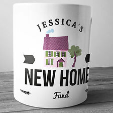 NEW HOME FUND PERSONALISED CERAMIC MONEY BOX PIGGY BANK PENNY JAR HOUSE MOVING