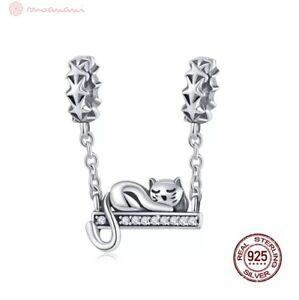 Charm Pendant W.F.Pandora Cat Star Stars Chain Spacer Pearl 925 Silver New