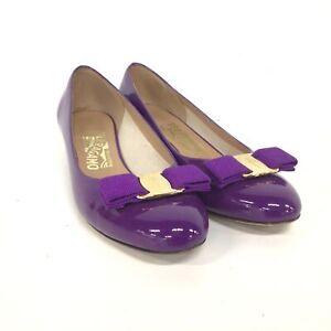 Salvatore Ferragamo Vara Bow-Embellished Purple Leather Pumps Florence #554