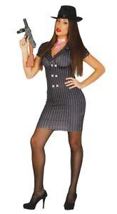 Womens Gangster Costume Pinstripe Mafia Fancy Dress Ladies Mobster UK Sizes 8-16