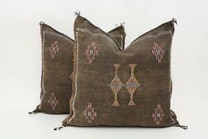 Set of 2 Moroccan Sabra Cactus Silk Pillow, Handmade Cushion,Pillow Cover-brown