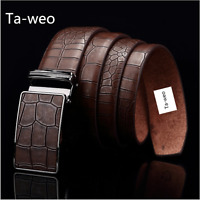 Automatic sliding buckle Auto-lock Strap only Men's Leather belt strap