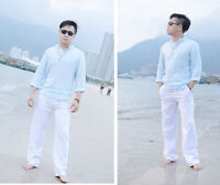 Mens Beach Pants Casual Linen Trousers Cotton Cool Fit Loose Elastic Waist Pants