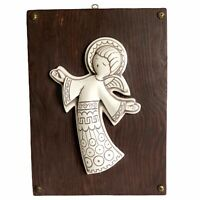 "Ceramic Angel 3D Wall Hanging Plaque 11"" Wood Vtg Mid Century"