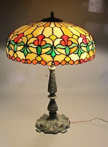 """Gorgeous WILKINSON Antique American 25"""" Leaded Stained Glass Lamp  c. 1915"""