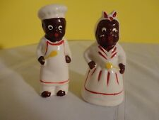 Vintage Black Americana Salt and Pepper Shakers - White with Red Trim