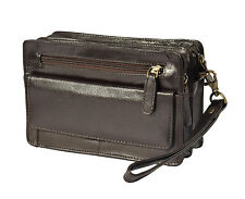 Mens BROWN leather wrist bag clutch money cab gents casual pouch mobile bag NEW