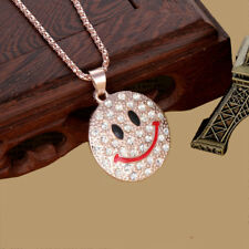 Fashion Women Crystal Cute smiley face Pendant Long Chain Sweater Necklace Gift