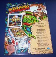 DRAGON Pinball FLYER Gottlieb 1978 Original NOS Flipper Game Promo Artwork