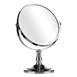 Chrome Round Double Sided Swivel Table Mirror On Stand Bathroom Shaving