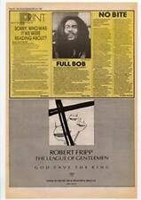 Robert Fripp The League Of Gentleman God Save The King Advert NME Cutting 1985