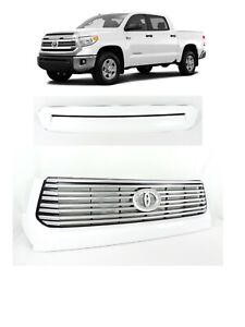 Fit Toyota Tundra Platinium Front Bumper Grille Grill Upper Hood Bulge WHITE 040