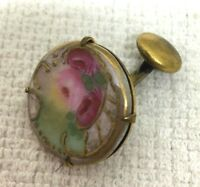 Antique Hand Painted China Button Buttons Single Rose Cufflink Style