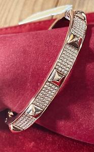 Michael Kors Rose Gold Plated Pave Rhinestone Heritage Pyramid Bangle Bracelet