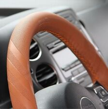 Orange Brown PVC Leather DIY Steering Wheel Cover Wrap w/ Needle Thread 43014