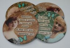 SET OF FOUR ROUND COASTERS FUNNY LADIES WINE COFFEE COASTERS DRINK COASTER COMIC