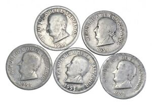 Lot of 5 El Salvador 1953 25 Centavos Silver Coin Lot - Rare one Year Issue *705