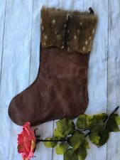Double D Ranchwear Home Collection Christmas Stocking Brown Fur