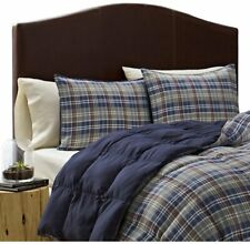 Eddie Bauer Rugged Plaid Comforter 3 Pcs Set  Full Queen Blue NEW