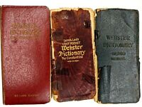 Antique LOT of 3 Webster Pocket Dictionaries De Luxe Ed. Laird & Lee's Vest 1899