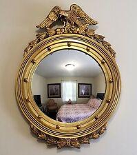 "Vintage Federal Eagle Convex Round Bullseye Wall Mirror Gilt Wood Frame 33 x 24"""