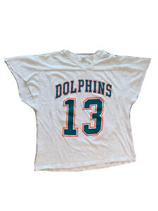 VTG 90s Mens XL Dan Marino #13 Miami Dolphins Custom Cut S/S Jersey T-Shirt Grey