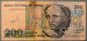 BRAZIL 200 CRUZADOS NOVOS COMMEMORATIVE RARE NOTE, P 221, issued 1989, NO STAMP