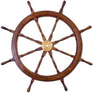 Ships Wheel 36 Inch Captains Maritime Wheel Wall Sculpture Wooden Marine Decor
