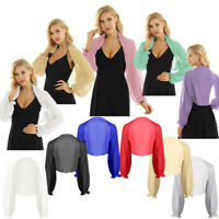 Fashion Womens Chiffon Shrug Open Front Bolero Shawl Cardigan Cropped Blouse Top