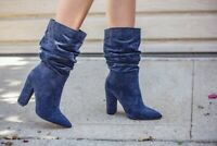 Cape Robbin Beautiful 64 NAVY Suede Pointy Toe Slouchy Mid Calf Chunky Heel Boot