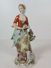 Sitzendorf German Porcelain Figurine A Shepherdess, Appr.19cm Tall