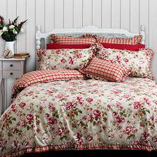Audrey Floral Duvet Doona Quilt Cover Set | Ruffle Trim | Check Reverse | Double