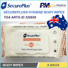 6 Bags Pack SecurePlus Hygiene Body Wipes 80 Wipes for Nursing home Age Care