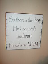 shabby vintage chic mum and son boy sign plaque gift  birthday