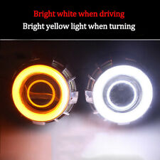 2xCOB 3020-LED Angel Eye Halo Ring Kit White Amber Lamp Light W/Turn Signal Part