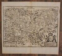 "Original Kupferstichkarte ""Transylvania Sibenburgen"" o.J. Euopa Geografie sf"