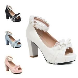 44-48 Women Dress Bridal Bowknot Casual Open Toe Mary Janes Lolita Shoes Pumps D