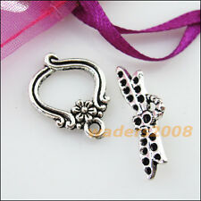 6 New Connectors Necklace Animal Dragonfly Toggle Clasps Tibetan Silver