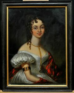 19th CENTURY REGENCY OIL ON BOARD PORTRAIT OF A LADY IN FINERY ANTIQUE PAINTING