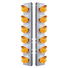 Peterbilt Front Air Cleaner 12 Reflector Watermelon Lights -Amber LED/Amber Lens