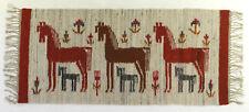 More details for mares / horses & foals modernist vintage textile wall hanging / rug grey