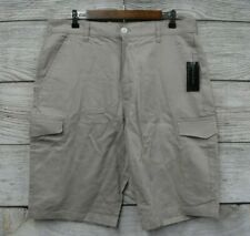 "Sean John Cargo Shorts Mens Size 34 Taupe Linen Blend 12"" Inseam Shorts New"