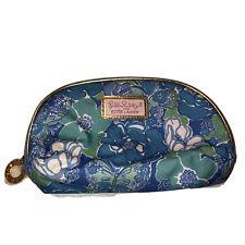 Lilly Pulitzer Estee Lauder Blue Floral Print Cosmetics Bag Pouch Case