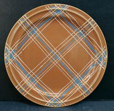 Vintage Pacific Pottery Dinner Plate #639 Orange Plaid Pattern