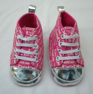 ❤ BEBE baby girls pink silver shoes size 3 NEW bootie fuchsia slip on FREESHIP